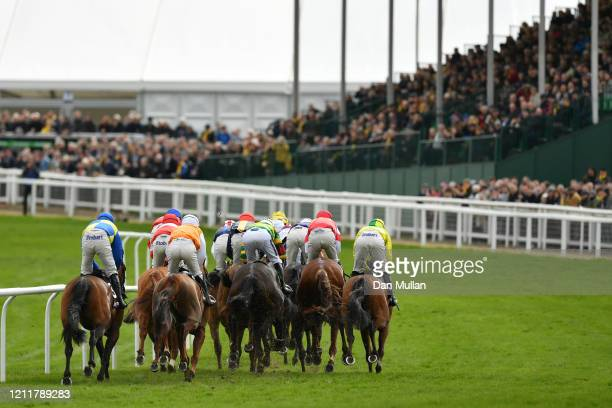 Runners and riders in the Ballymore Novices' Hurdle at Cheltenham Racecourse on March 11 2020 in Cheltenham England