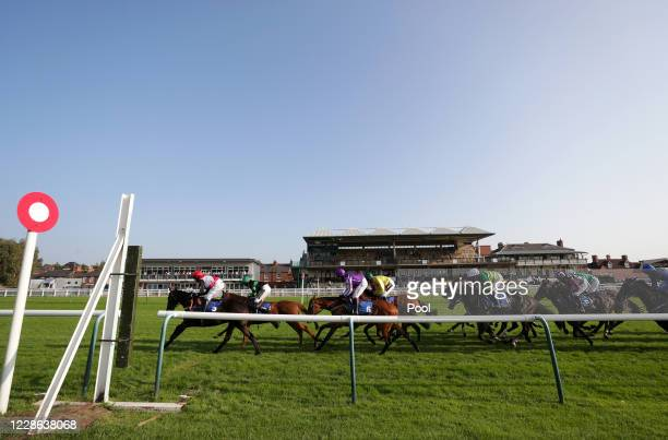 Runners and riders in the Get Daily Tips At racingtv.com Handicap Hurdle at Warwick Racecourse on September 21, 2020 in Warwick, England.