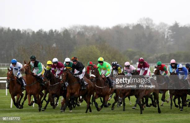 Runners and riders in the JLT Handicap Hurdle during day three of the Punchestown Festival 2018 at Punchestown Racecourse County Kildare