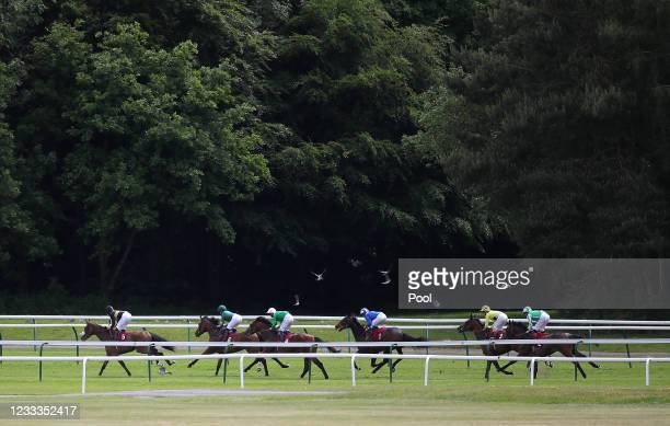 Runners and riders in the Racing To School Novice Stakes at Haydock Park Racecourse on June 9, 2021 in Newton-le-Willows, England.