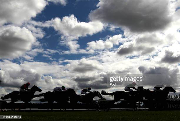 Runners and riders in the racingtv.com Handicap at Haydock Park Racecourse on June 9, 2021 Newton-le-Willows, England.