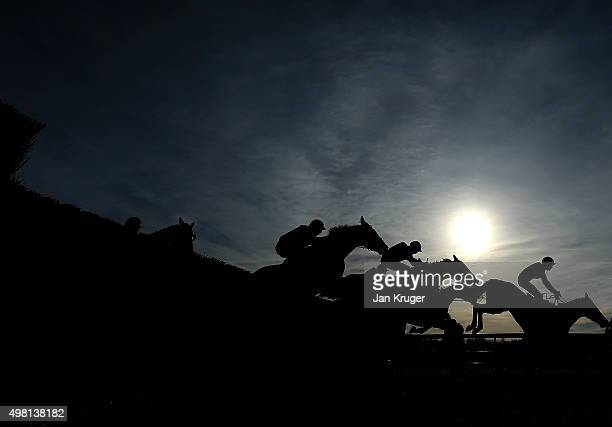 Runners and riders jump the final hurdle in The Betfair Home Of Price Rush Handicap Steeple Chase at Haydock racecourse on November 21 2015 in...