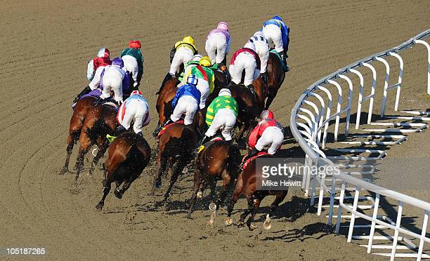 Runners and riders make their way round the first bend during the Betdaq The Betting Exchange Handicap race at Kempton Park on October 11, 2010 in...