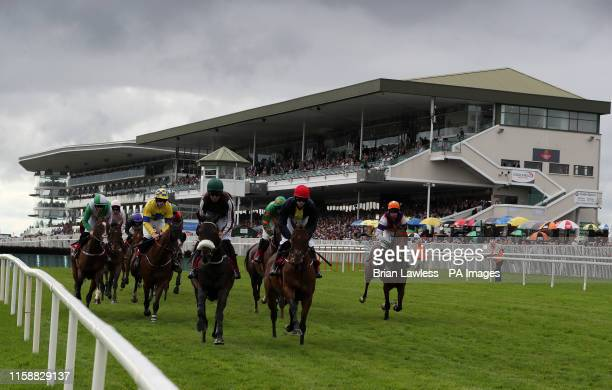Runners and riders pass the main stand during the Tote Supporting Irish Racing Since 1930 Maiden Hurdle during day three of the 2019 Summer Festival...