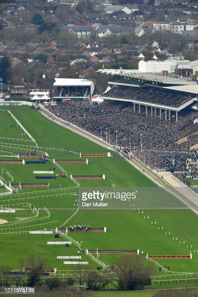 Runners and riders take part in the Racing Post Arkle Challenge Trophy Novices' Chase at Cheltenham Racecourse on March 10, 2020 in Cheltenham,...