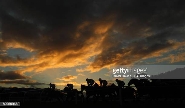 Runners and riders take the bend in the E B F Jenny & Mark Pitman Gold Syndicates National Hunt Novices Hurdle during day one of The International at...