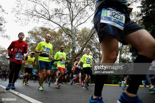 Runners are seen at mile 25 during the 2017 TCS New York City Marathon on November 5 2017 in New York City