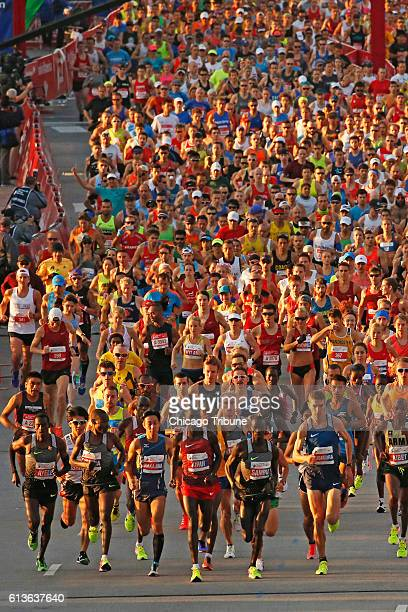 Runners at the start of the Bank of America Chicago Marathon on Sunday Oct 9 2016