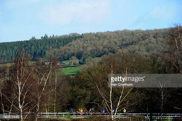 Runners at the start of The Dinham Novices' Steeple Chase at Ludlow racecourse on January 30 2013 in Ludlow England