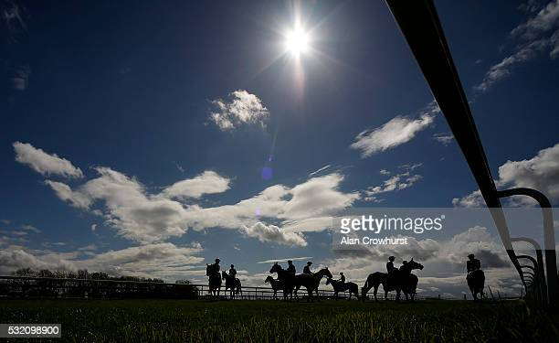 Runners circle at the start at Bath Racecourse on May 18 2016 in Bath England