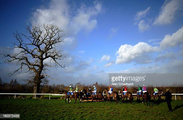 Runners circle at the start for The Bet With The Ludlow On Course Bookmakers Mares' Handicap Hurdle Race at Ludlow racecourse on January 30 2013 in...