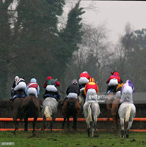 Runners clear the 7th fence in The Hardings Bar Catering Services Handicap Steeple Chase Race run at Fontwell Racecourse on February 4 2005 in...