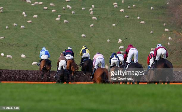 Runners clear the last fence in the back straight in The 188Bet Handicap Steeple Chase at Chepstow Racecourse on November 16 2016 in Chepstow Wales