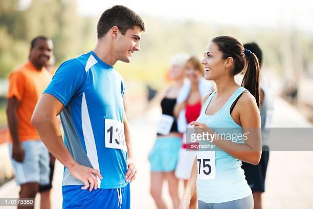 Runners communicating
