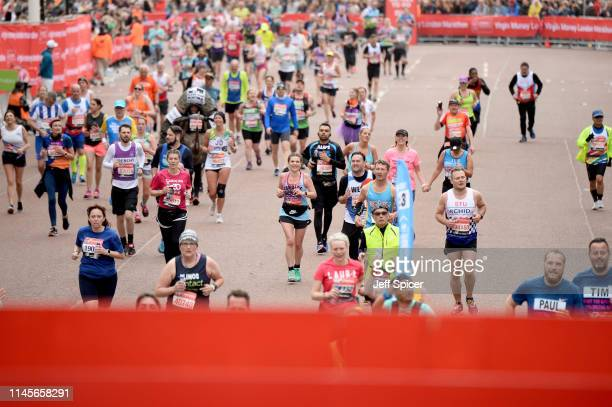Runners compete at the Virgin London Marathon 2019 on April 28 2019 in London United Kingdom