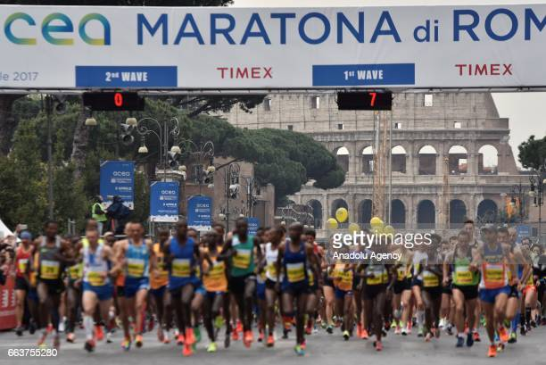Runners compete during the 23rd Marathon of Rome, in Rome, Italy on April 02, 2017. The Rome Marathon is an annual marathon competition hosted by the...