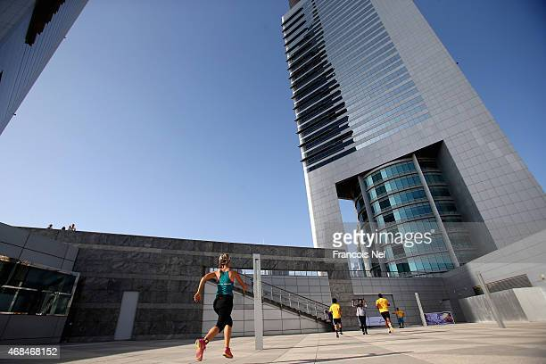 Runners compete during the Dubai Holding Vertical Marathon at Jumeirah Emirates Towers on April 3 2015 in Dubai United Arab Emirates