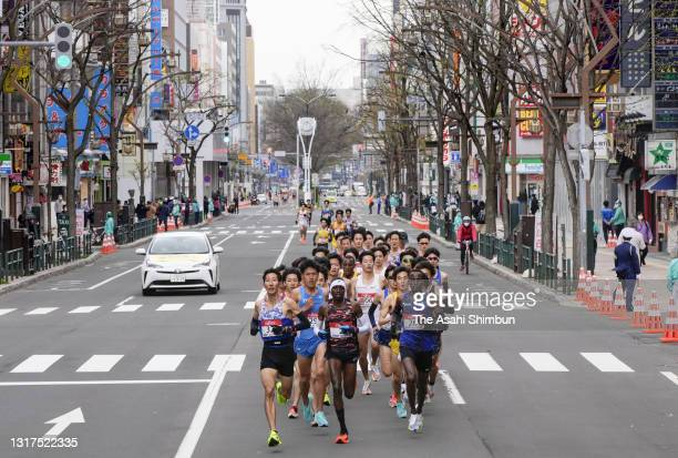 Runners compete during the Hokkaido Sapporo Marathon Festival, Olympic Test Event on May 5, 2021 in Sapporo, Hokkaido, Japan.
