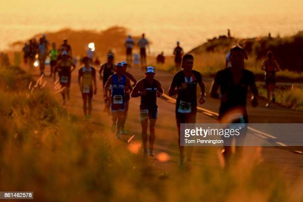 Runners compete during the IRONMAN World Championship on October 14 2017 in Kailua Kona Hawaii