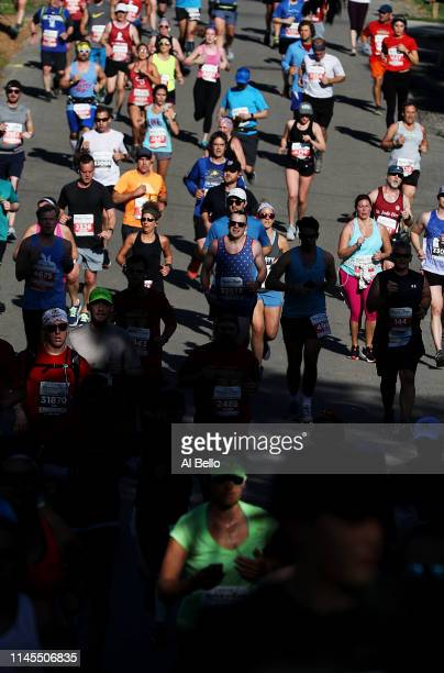 Runners compete during the St Jude Rock 'n' Roll Nashville Marathon 1/2 Marathon on April 27 2019 in Nashville Tennessee