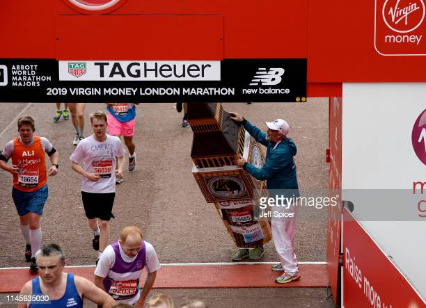 Runners compete during the Virgin London Marathon 2019 on April 28 2019 in London United Kingdom