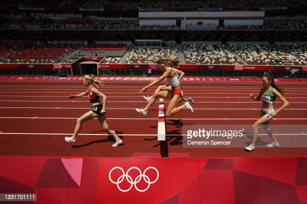Runners compete in round one of the Women's 3000m Steeplechase heats on day nine of the Tokyo 2020 Olympic Games at Olympic Stadium on August 01,...