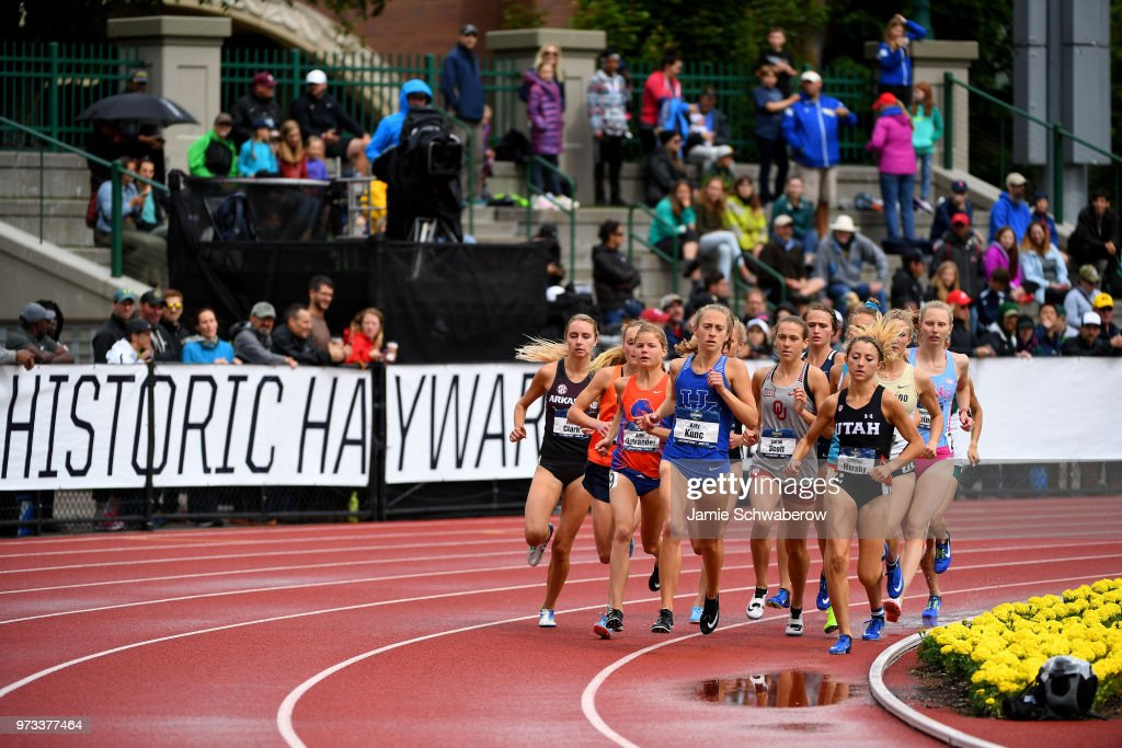 Runners compete in the 3000 meter steeplechase during the Division I Women's Outdoor Track & Field Championship held at Hayward Field on June 9, 2018 in Eugene, Oregon.