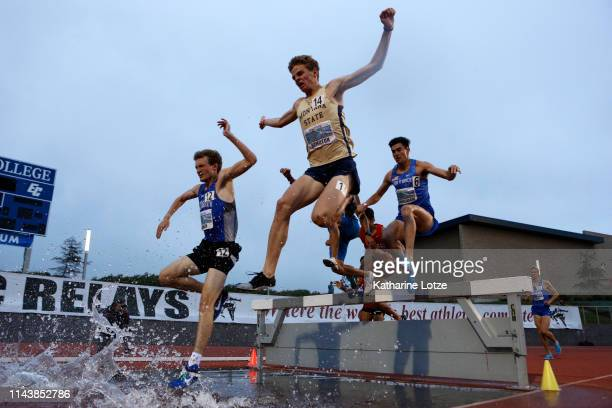 Runners compete in the 3000 meter steeplechase on the first day of the 61st Mt SAC Relays at Murdock Stadium at El Camino College on April 19 2019 in...