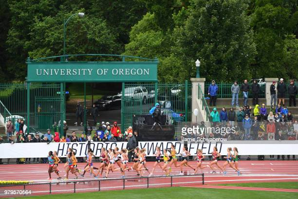 Runners compete in the 5000 meter run during the Division I Women's Outdoor Track & Field Championship held at Hayward Field on June 9, 2018 in...