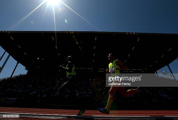 Runners compete in the 5000m during day 2 of the IAAF Diamond League Nike Prefontaine Classic on May 31 2014 at the Hayward Field in Eugene Oregon