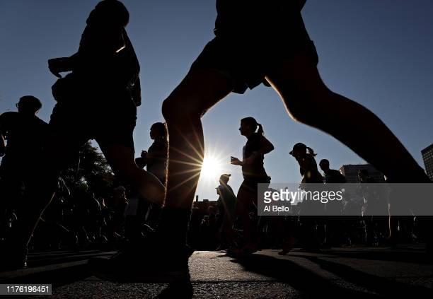 Runners compete in the 5k race during the Oasis International Marathon de Montreal Day 1 on September 21 2019 in Montreal Canada