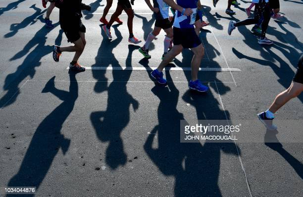 TOPSHOT Runners compete in the Berlin Marathon on September 16 2018 in Berlin