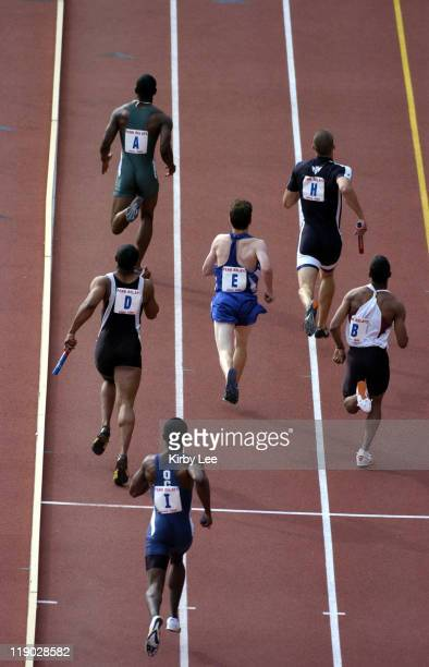 Runners compete in the college men's 4 x 400meter heats in the 111th Penn Relays at Franklin Field in Philadelphia Pa on Friday April 29 2005