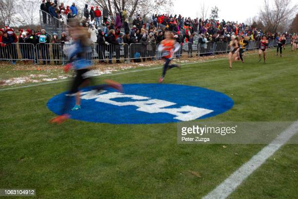 Runners compete in the Division III Women's Cross Country Championship held at the Lake Breeze Golf Club on November 17 2018 in Winneconne Wisconsin