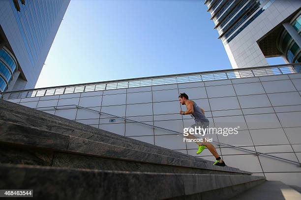 Runners compete in the Dubai Holding Vertical Marathon at Jumeirah Emirates Towers on April 3 2015 in Dubai United Arab Emirates