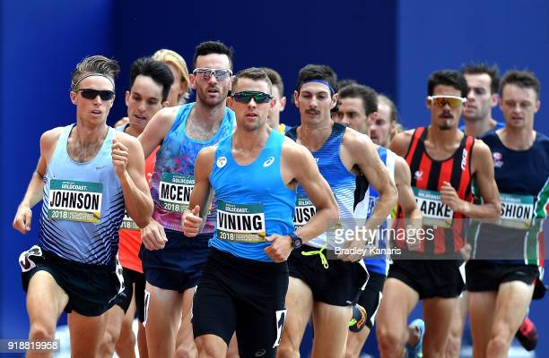 Runners compete in the heats of the Men's 1500m event during the Australian Athletics Championships Nomination Trials at Carrara Stadium on February...