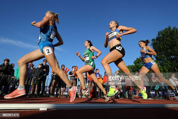 Runners compete in the Highgate Harriers Night of the 10000m PBs at Parliament Hill Athletics Track on May 19 2018 in London England
