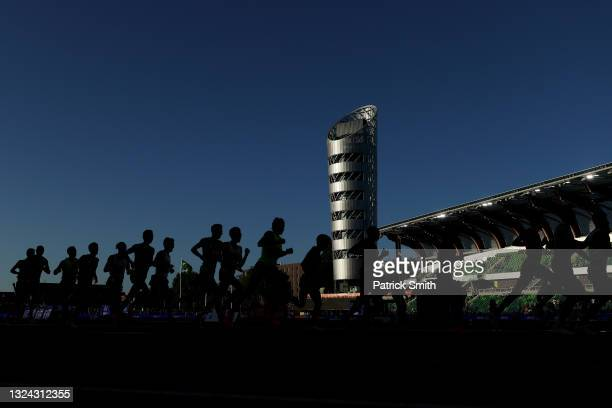 Runners compete in the Men's 10000 Meter during day one of the 2020 U.S. Olympic Track & Field Team Trials at Hayward Field on June 18, 2021 in...
