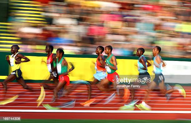 Runners compete in the Men's 10000m during day 1 of the IAAF Diamond League Prefontaine Classic on May 31 2013 at the Hayward Field in Eugene Oregon