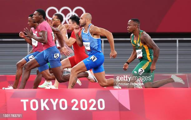 Runners compete in the Men's 100m Final on day nine of the Tokyo 2020 Olympic Games at Olympic Stadium on August 01, 2021 in Tokyo, Japan.