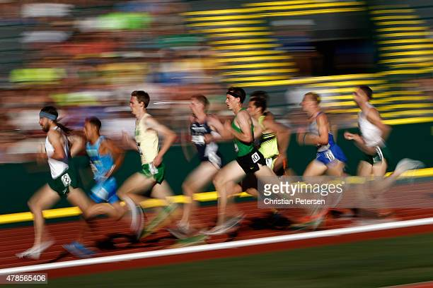 Runners compete in the Men's 1500 meter run during day one of the 2015 USA Outdoor Track Field Championships at Hayward Field on June 25 2015 in...