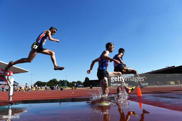 Runners compete in the Men's 3000m Steeplechase final during Day One of the Muller British Athletics Championships at the Alexander Stadium on June...