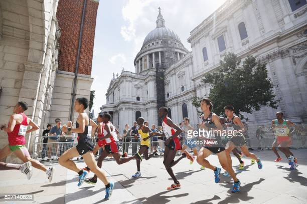 Runners compete in the men's marathon at the world athletics championships in London on Aug 6 2017 Geoffrey Kirui of Kenya won the race ==Kyodo