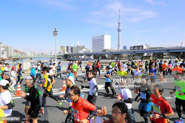 Runners compete in the Tokyo Marathon 2017 on February 26 2017 in Tokyo Japan