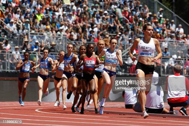 Runners compete in the women's 1500m during the Prefontaine Classic at Cobb Track & Angell Field on June 30, 2019 in Stanford, California.