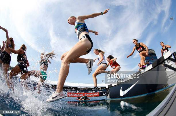 Runners compete in the Women's 3000 Meter Steeplechase heat during the 2019 USATF Outdoor Championships at Drake Stadium on July 25, 2019 in Des...