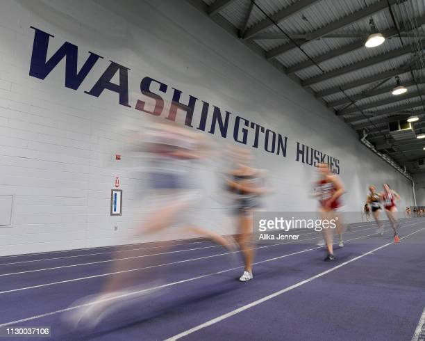 Runners compete in the women's one mile at Dempsey Indoor Center on February 15 2019 in Seattle Washington