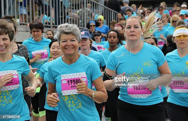 Runners compete the 11th edition of the Harmony Geneva Marathon for UNICEF in Geneva Switzerland on May 02 2015 An event record of 16000 runners take...