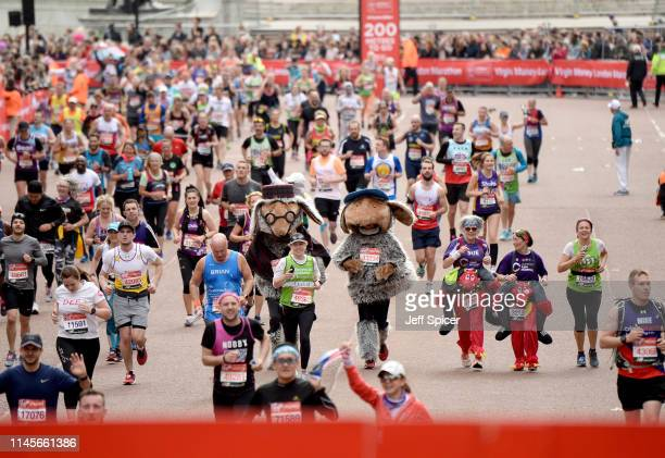 Runners compete the Virgin London Marathon 2019 on April 28 2019 in London United Kingdom