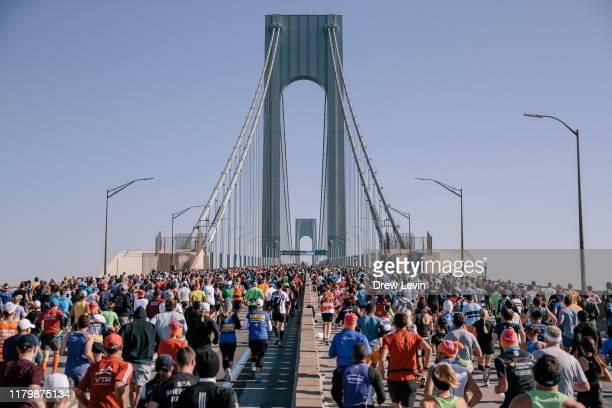 Runners cross the TCS New York City Marathon on the Verrazzano Bridge on November 3, 2019 in New York City.